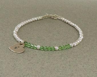August Birthstone Bracelet, Peridot Swarovski Bracelet, Sterling Silver Sparkly Bracelet, Women & Girl's Bracelet, Birthday Gift