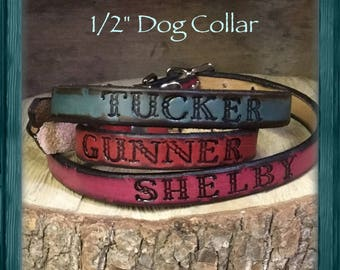 Personalized Genuine Leather Dog Collar-puppy or large breed- hand tooled and customized for your special pet