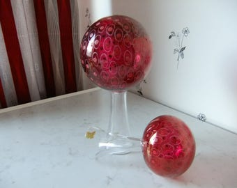 Vintage Swedish set of two wonderful glas art sculptures - Klothepp - Gullaskruf - Kjell Blomberg design - 1971