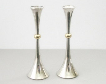 One Pr Vintage DANSK Designs MCM Silver/ Gold Plated CANDLE Holders 11in Design Jens Quistgaard  Mid Century Post Modern Minimalist Japan