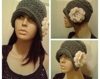 Crochet Cloche Hat 1920s Hat, Crochet Hat,Boho Hat,flower