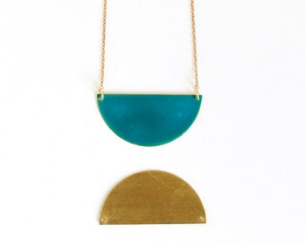 Teal Half Circle Necklace.              Double Sided Geometric Necklace.     Simple Modern Jewelry with a Charitable Donation