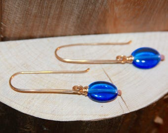 Blue Dangle Earrings, Blue Glass 14k Gold Filled Long Dangle Earrings, Short Dangle Earrings, Sterling Silver Earrings, Bronze Earrings