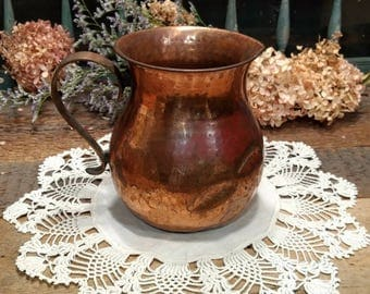 Shabby Vintage Hammered Copper Pitcher with Brass Handle from Teleflora, Made in India
