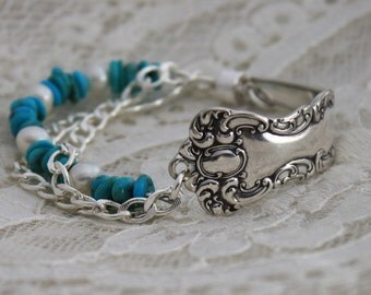Spoon Bracelet w/TURQUOISE & PEARLS Silverware Jewelry - Sterling Silver Magnetic Clasp - Oxford 1901 - Antique Spoons - 7.5 inch Wrist
