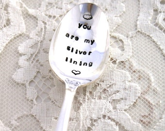 Stamped Spoon Vintage LOVE GIFT - you are my silver lining - Exquisite 1957 - Ready To Ship & Made in USA - Gift Under 20 - Shabby Chic