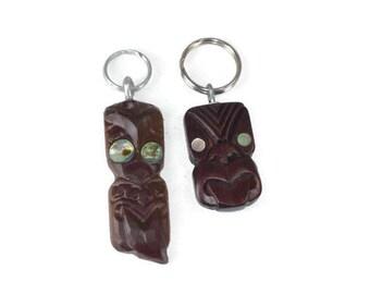 2 Vintage Tiki Keyrings or Keychains