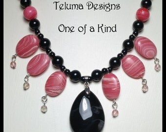 Pink and Black Agate Necklace.  Vibrant gemstones. Boho. Gypsy. OOAK Handmade. Tribal. Magnetic Clasp. Eye-catching. Unique. Exotic.