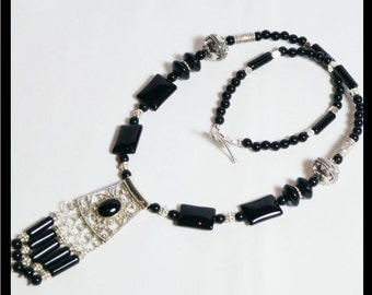 Sterling Silver and Black Onyx Necklace with Pendant.  Exotic.  Elegant. Filligree pendant with gemstone fringe. OOAK. Unique Hand Made