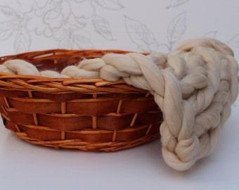 Sandstone Chunky Knit Merino Blanket, Tan Posing Blanket, Newborn Photo Prop, Sandstone Roving Blanket, Merino Posing Layer