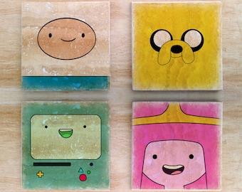 "Stone/Ceramic Adventure Time ""Portraits Time"" Coasters (4,6,8) - Finn Jake Bmo Marceline Flame Princess Bubble Gum Peppermint Butler LSP"