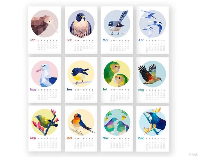 SALE ON  2017 calendars, New Zealand birds, New Zealand calendar, Wall calendar, Bird calendar, Geometric art, Kiwiana, Kiwi, Tui, tinykiwi