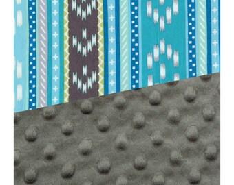 Baby Blanket Aztec Carseat Blanket Crib Blanket Girl Feather Minky Blanket