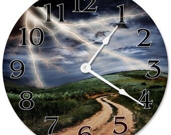 "LIGHTNING STORM Clock - Large 10.5"" Wall Clock - 2265"