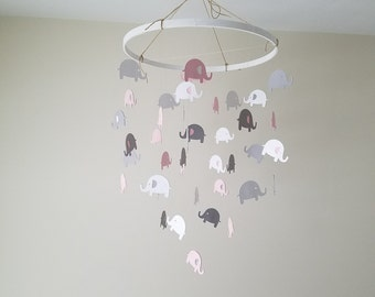 Small Elephant Mobile pink, white and gray
