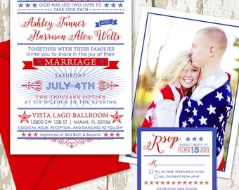 Red, White and Blue Wedding Invitation with July 4th Theme, Wedding Celebration, full invitation suite, custom wedding paper