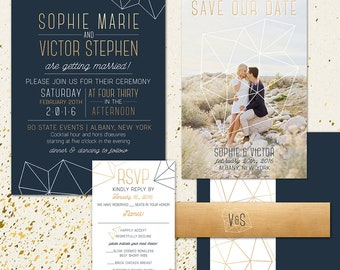 Navy and Copper Wedding Invitation with geometric shapes, full invitation suite, custom wedding paper and typography, DIY Wedding Invitation