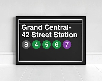 Grand Central- 42 Street Station - New York Subway Sign - Art Print