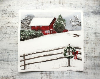 Scandinavian red house winder original watercolor painting 12x11 Scandi Christmas watercolour