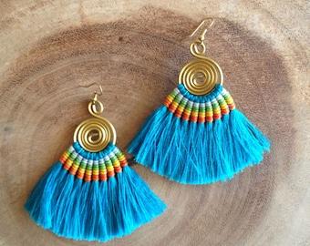 50% OFF Azure Blue Earrings, Tassel Earrings, Blue Tassle Earrings, Azure Blue Tassels, Blue Jewelry, Blue Earrings, Silk Tassels, Holidays