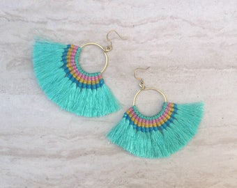 Aqua Tassel Hoop Earrings Large Tassle Fringe Earrings Tassel Chandeliers Tassel Statement Earrings