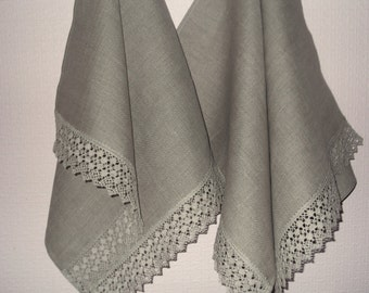 Organic washed gray linen dish towel  hand towel kitchen towel picnic towel table runner with lace