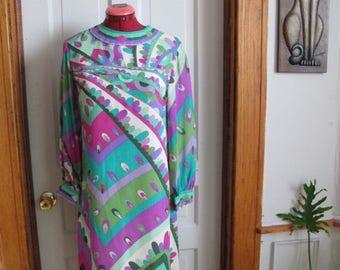 1960s Psychedelic Emilio Pucci Silk Mini-dress sz s/m