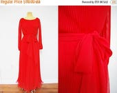 SALE: Vintage 70s Red Accordian Pleated Maxi Long Dress Chiffon Gown Bright Red Party