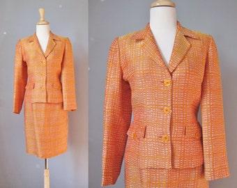 Orange Suit / Vtg 90s / Parisian Made Vertigo Orange Tweed Skirt Suit