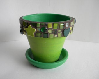 Lime Green Purple Mosaic Planter or Desk Caddy