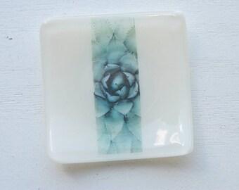 White Succulent Mini Fused Glass Dish
