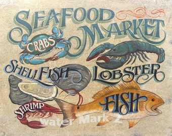 Seafood Market Print,Oysters, Fish, Shrimp ,Crabs & Lobster
