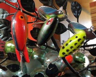 Fisherman fun!  Three fabulous vintage fishing lures.  Two marked Japan
