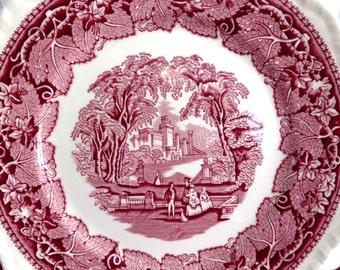 Masons Pink Vista Transferware Dinner Plate 1940s White Ironstone Red And White Holiday Dinner