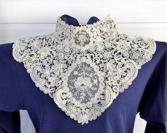 Antique Lace collar Point de Gaze Mixed Lace Brussels 1800s Hand Made Bridal Ecru Wedding