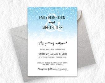 Blue White Snowflake Wedding Invitation Printable Snow Winter Themes Holiday Invites Instant DOWNLOAD Digital