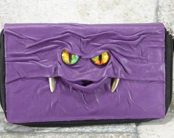 Woman's Wallet Clutch With Monster Face Zippered Organizer Purple Black Leather Harry Potter