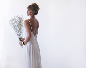 Open back maxi white wedding dress,  Simple wedding gown 1036