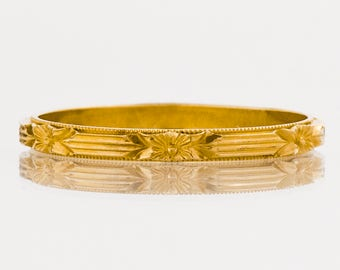 Antique Wedding Band - Antique 14k Rose Gold Etched Wedding Band