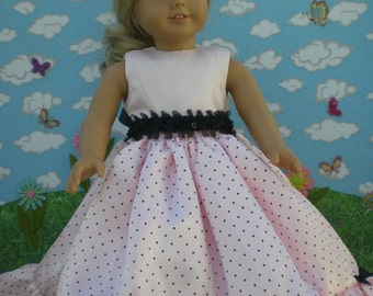 Pretty in Pink and Black dress for 18 inch doll like American Girl