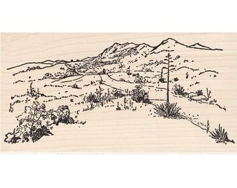 Large Desert Road 555M Beeswax Rubber Stamps Unmounted, Cling, Mounted Stamp Scenic, Landscape Stamping