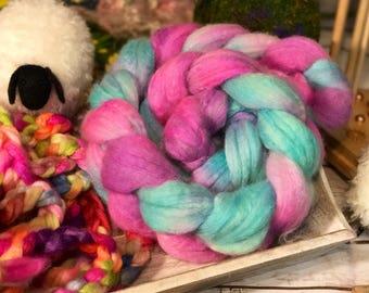 Springtime Bliss BFL Silk Spinning Felting Crafting Roving
