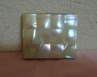 Vintage Mother Of Pearl Compact / Mirror / Make Up Pad / Unique!