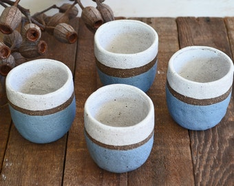 ON SALE - Set of 4 Ceramic Tumblers - Pottery Tumblers - Ceramic Cups - Pottery Cups - Stoneware Cups - Tea Cups