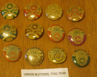 Vintage UAW CIO Union Dues Buttons 1941 - Full Year