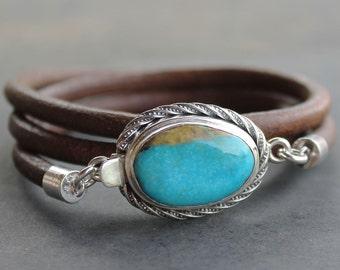 Mens Turquoise Bracelet sterling silver Leather mens jewelry bracelet