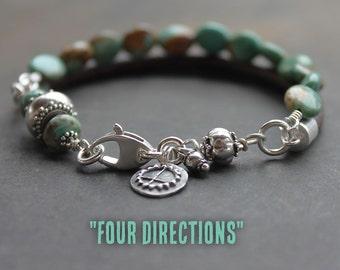 Turquoise Leather boho Bracelet - Sundance style turquoise silver multi-strand artisan bracelet, bohemian jewelry, desert turquoise