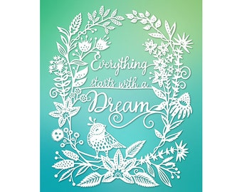 Dream - 5x7 Print - Original Papercut Illustration - Fine Art Print