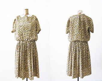 Vintage Floral Dress / Lace Collar / Mustard Yellow Dress / Granny Dress / Peter Pan Collar /  Medium