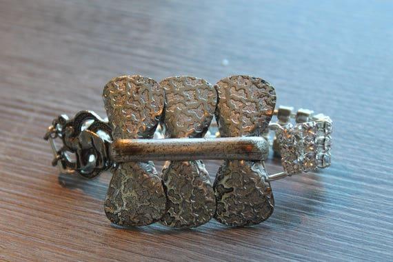 Crystal rhinestones CUFF bracelet, repurposed silver filigree bows belt buckle, Steampunk, Art Nouveau, vintage assemblage jewelry, OOAK